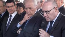 Thierry Lajoie aux côtés de Laurent Cathala maire de Créteil et de Manuel Valls à Créteil lors du CIM Grand Paris du 13 octobre 2014.
