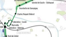 Carte Grand Paris : plan de la ligne Est TVM