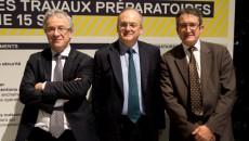 Le Journal du Grand Paris : Bruno Godfroy, directeur de Véolia Eau Ile-de-France, Philippe Yvin, président du directoire de la SGP et Jean-Luc Aschard, directeur d'ERDF Ile-de-France ©Jp