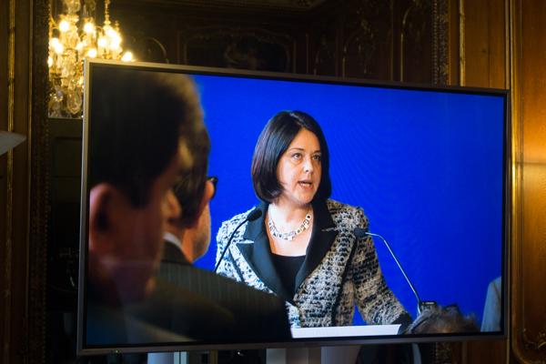 Sylvia Pinel, ministre du logement, de l'égalité des territoires et de la ruralité, lors de ses voeux, le 29 janvier 2015. ©Jp
