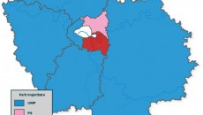 Carte des résultats des élections départementales 2015 en Ile-de-France.