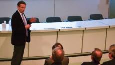 Dominique Vernay, président de la fondation de coopération scientifique de Saclay présente l'Université de Paris-Saclay ©GM