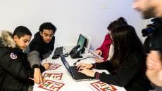 Les élèves du collège Simone Veil d'Aulnay, dans les locaux de Salvia Développement.