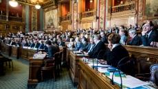 Les membres de Paris métropole réunis à la mairie de Paris le 22 mai 2015. ©Jp