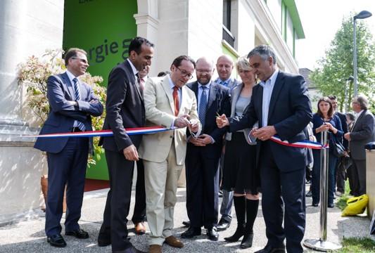 Inauguration de Seinergylab, aux Mureaux, le 12 mai 2015.
