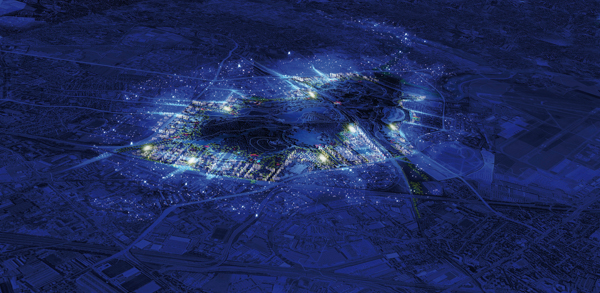 Vue nocturne du projet de Central Park sur les franges du Parc Georges Valbon, à la Courneuve. ©CDU-AFTRP