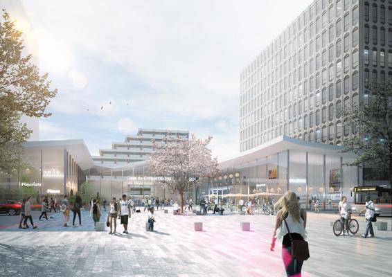 Perspective extérieure de la gare de Créteil-l'Echat - Agence Nicolas Michelin et associés