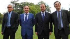 De gauche à droite : Pascal Martin (Seine-Maritime), Pierre Bédier (Yvelines), Sébastien Lecornu (Eure) et Patrick Devedjian (Hauts-de-Seine).