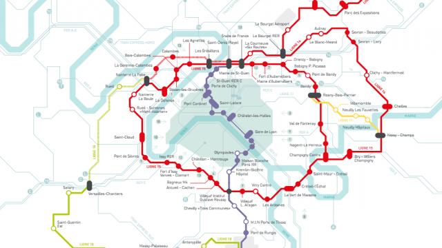 Le plan du Grand Paris Express © Société du Grand Paris
