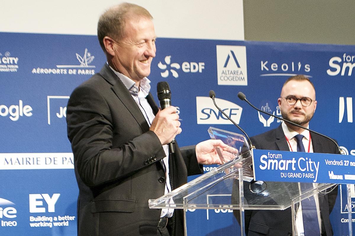 Christophe Sapet, PDG de Navya durant son discours de remise de prix. ©G.M