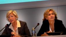 Valérie Pécresse aux côtés de Catherine Carely, présidente de la chambre des notaires de Paris.