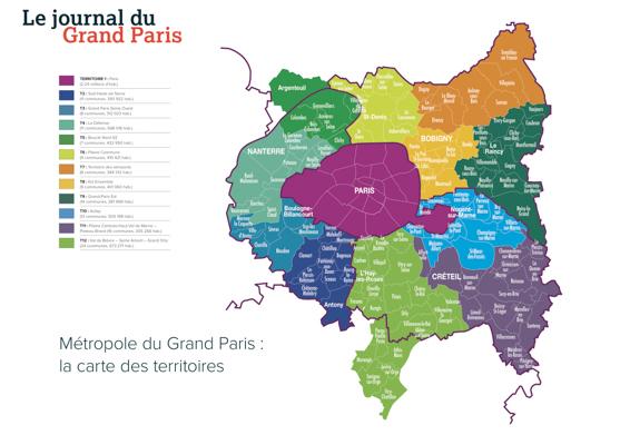 Carte des territoires de la métropole du Grand Paris.