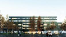 Façade est du projet de résidence étudiante.