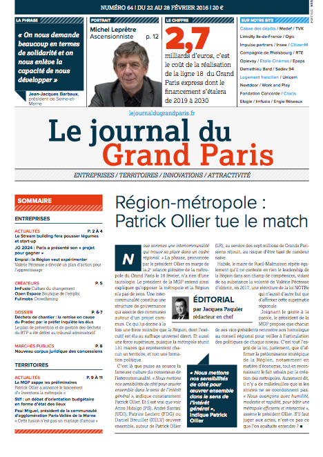 Couverture 64 - Le Journal du Grand Paris