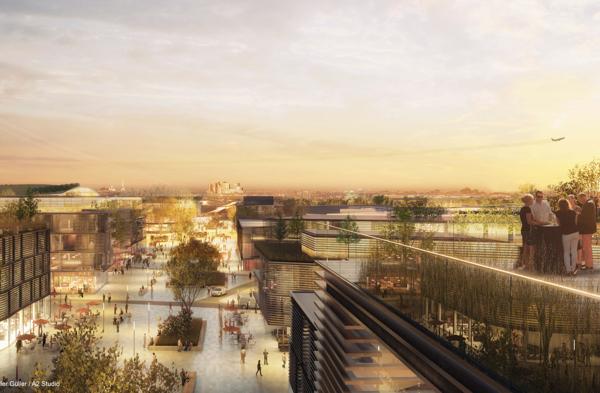 Illustration du quartier d'affaires : toit des immeubles de bureaux et vue sur Paris au coucher de soleil