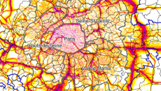 Carte du bruit des routes en Ile-de-France.