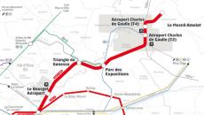Tracé de la ligne 17 nord du Grand Paris express.