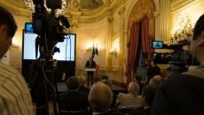 Bruno Leroux, vice-président d'ExpoFrance 2015, lors de la présentation du village global, mardi 3 mai à l'hôtel de Lassay, résidence du président de l'Assemblée nationale.