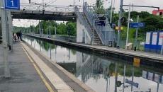 Inondations en gare de Souppes-sur-Loing.