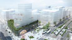 """Vue de la future gare La Courneuve """"Six routes""""."""