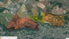 En jaune, le périmètre de la ZAC de Corbeville.