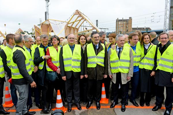 Aréopage d'élus autour de Philippe Yvin (SGP) pour le lancement des travaux du Grand Paris express à Clamart.