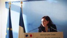 Emmanuelle Cosse, ministre du Logement lors de ses voeux à la presse le 17 janvier 2017. ©Jgp