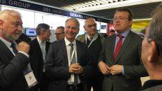 Les présidents du conseil départemental de l'Essonne, François Durovray, et de la CCI départementale, Emmanuel Miller, à Techinnov.